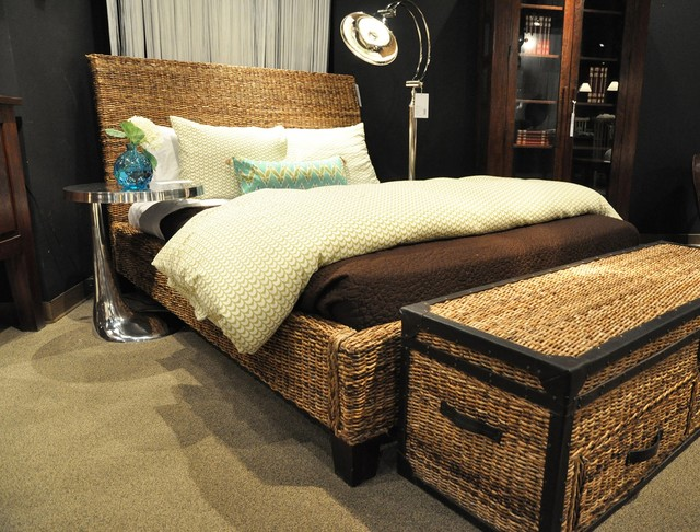 Wicker woven bedroom beach style bedroom orange county by zin home - Seagrass platform bed ...