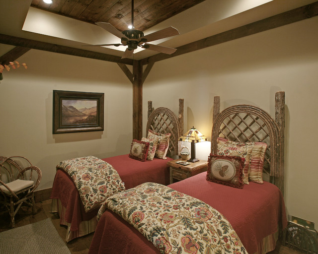 master bedroom ceiling design ideas - Wild Turkey Lodge Bedrooms Rustic Bedroom atlanta