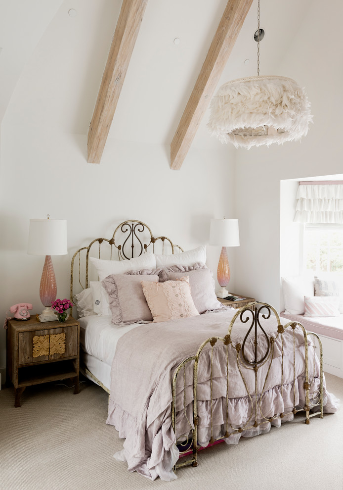 Inspiration for a shabby-chic style carpeted bedroom remodel in Houston with white walls