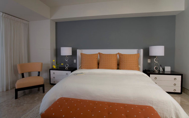 Window treatments modern bedroom orange county by christopher james interiors for Bedroom furniture orange county