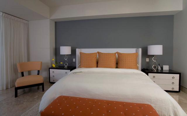 Lovely Orange And Gray Bedroom