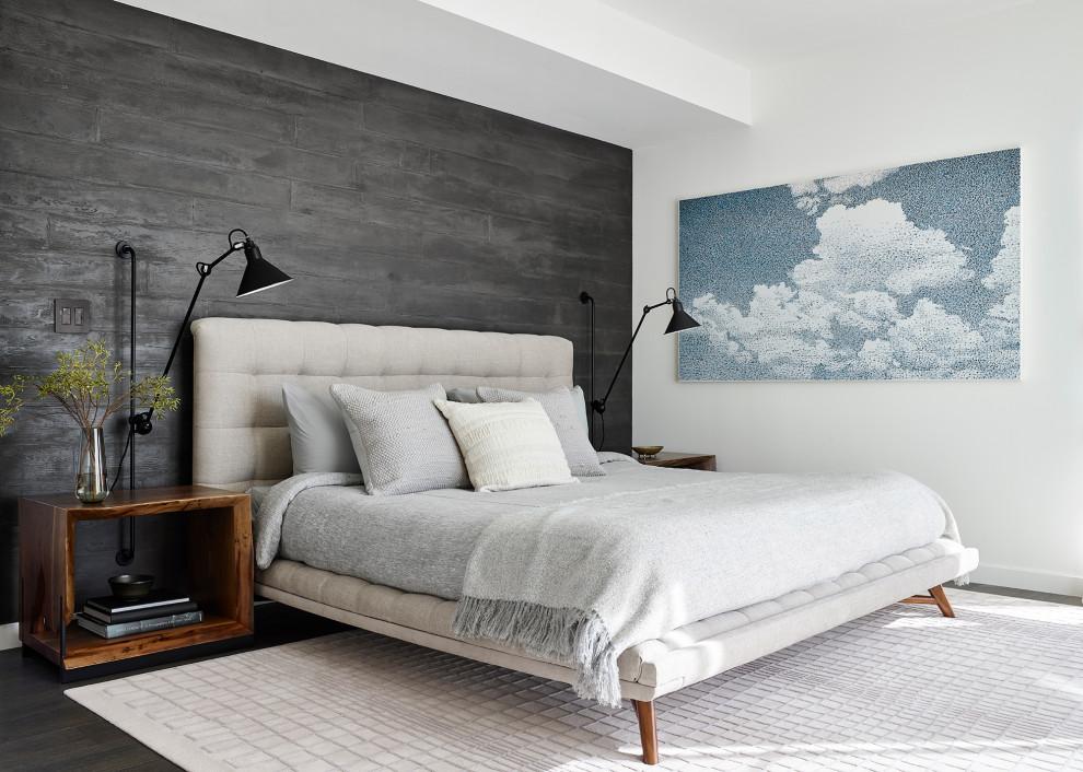 Bedroom - contemporary dark wood floor bedroom idea in San Francisco