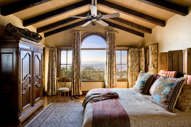 Wine Country Spanish Estate rustic bedroom. Wine Country Spanish Estate