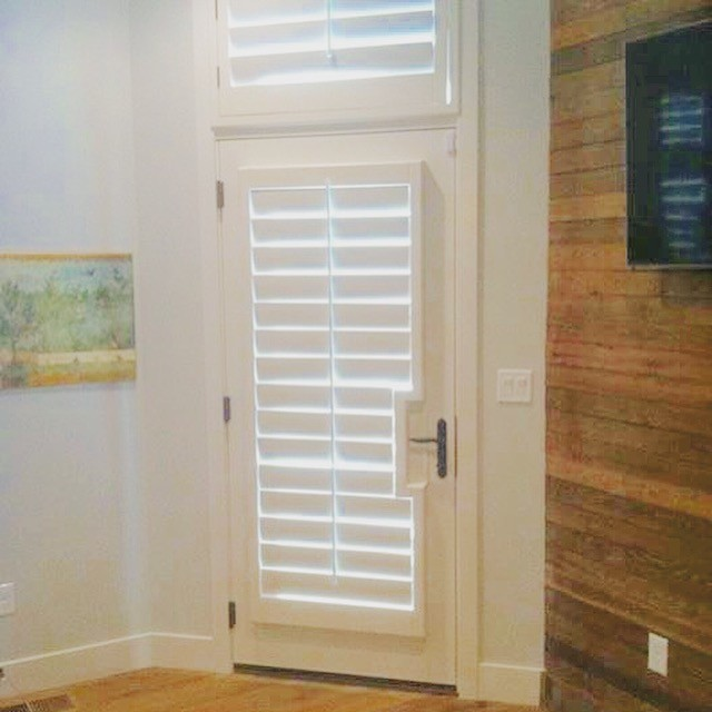 Wood Plantation Shutter T Post French Style Door With