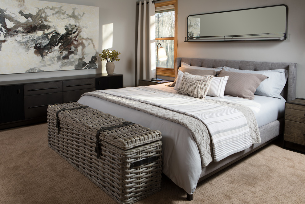 Inspiration for a transitional beige floor bedroom remodel in Other with white walls