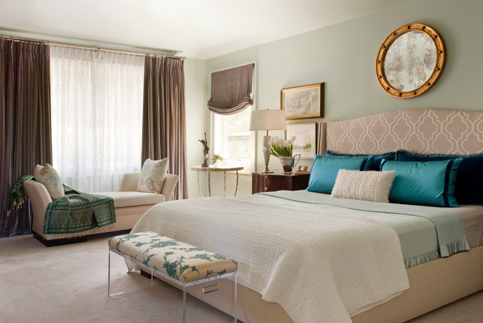 Inspiration for a large contemporary master carpeted bedroom remodel in San Francisco with green walls and no fireplace