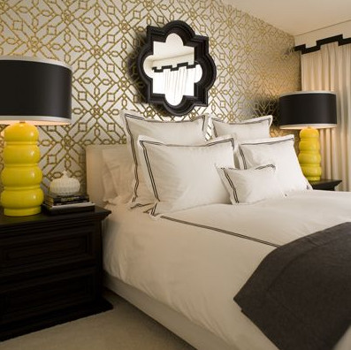 yellow gold and black bedroom quatrefoil eclectic bedroom other