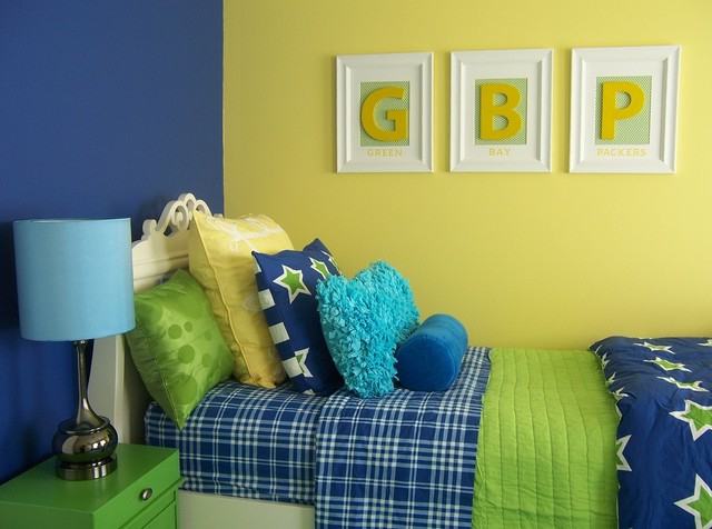 Yellow Green And Blue S Bedroom American Traditional