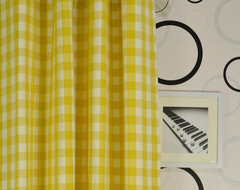 Yellow Small Plaids Grommet Cotton Curtains modern-bedroom