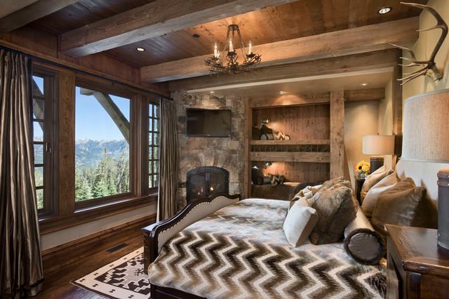 Yellowstone Club Summit Residence Rustic Bedroom