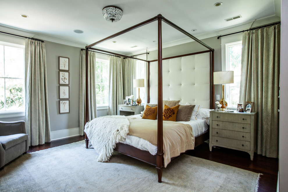 Example of a trendy bedroom design in Charleston with gray walls