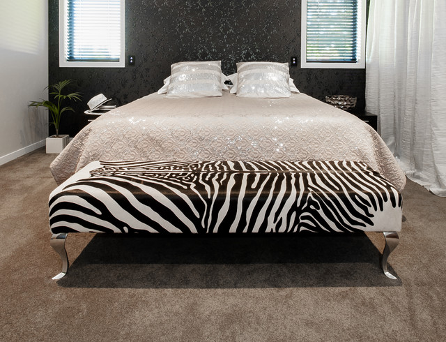 zebra print cowhide ottoman for end of bed contemporary. Black Bedroom Furniture Sets. Home Design Ideas