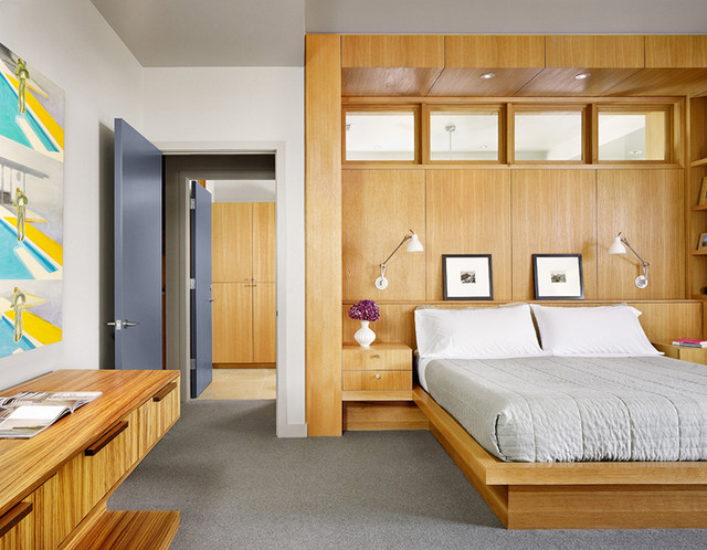 Zebra Wood Build-In Platform Bed modern-bedroom