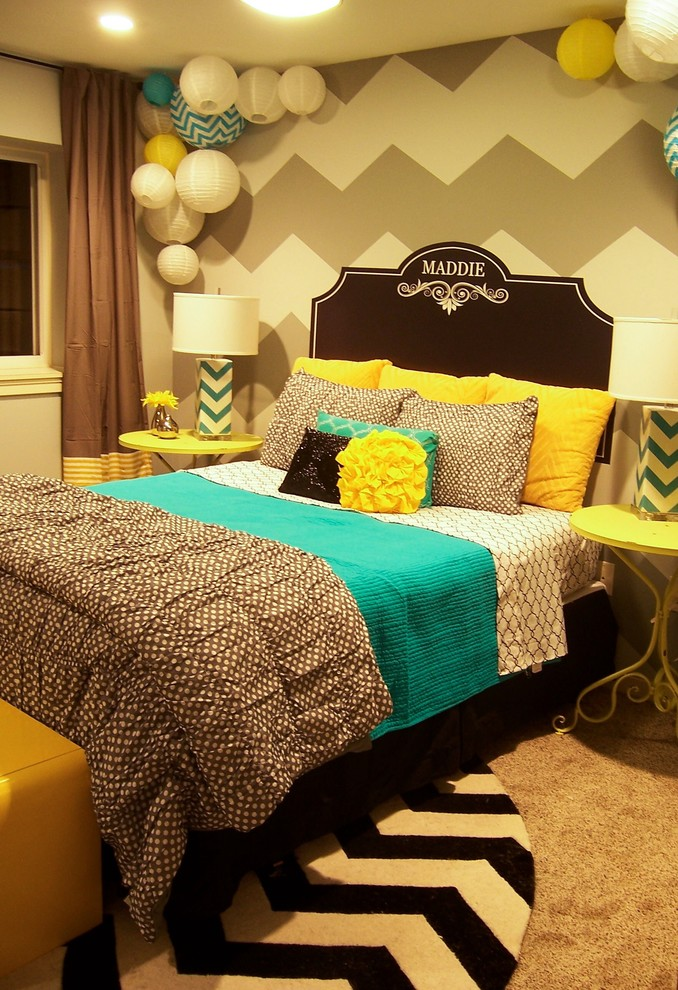 Zeeland Grey Yellow Turquoise Girl S Room Contemporary Bedroom Grand Rapids By Storybook Interiors