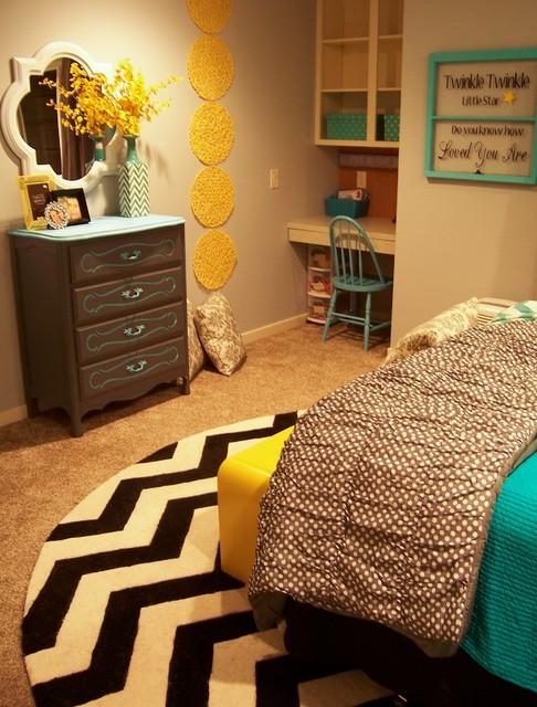 Zeeland Grey, Yellow & Turquoise Girl\'s Room - Contemporary ...