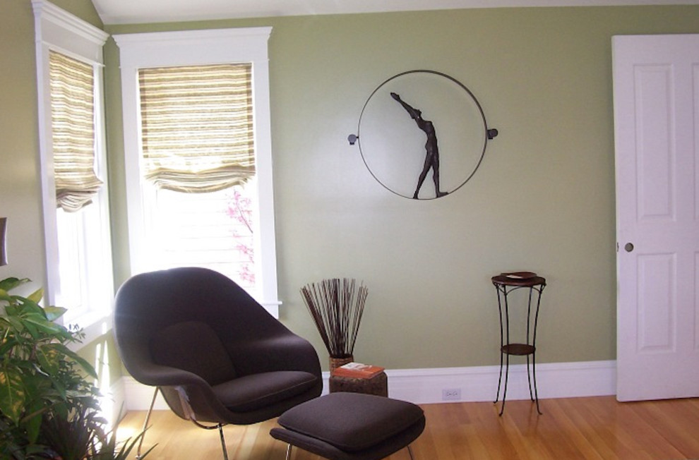 Minimalist guest bedroom photo in Providence with green walls