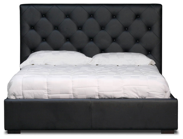 Zoe Modern Black Leather Tufted Headboard Bed Contemporary Bedroom