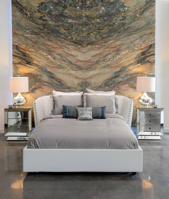 Zuri Furniture 39 S Vitali Bed Azul Night Stands At Aria Stone Gallery Contemporary Bedroom