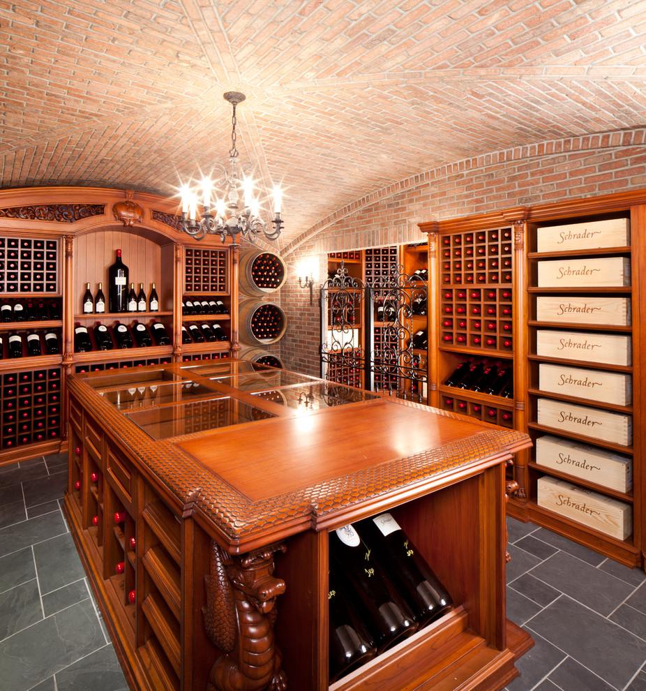 Elegant wine cellar photo in New York with storage racks