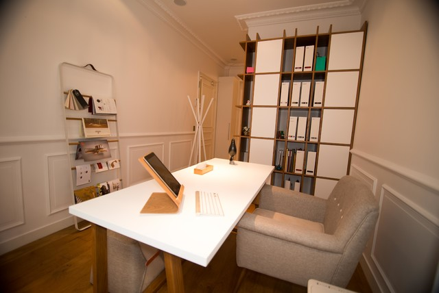 Am nagement d 39 un bureau parisien contemporary home office - Amenagement d un bureau ...