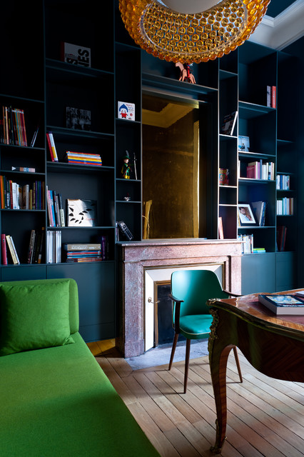 Appartement de type haussmannien contemporain bureau for Interieur haussmannien