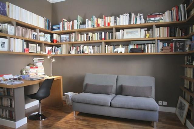 bibliotheque sur mesure suspendue ch ne vieilli et medium. Black Bedroom Furniture Sets. Home Design Ideas