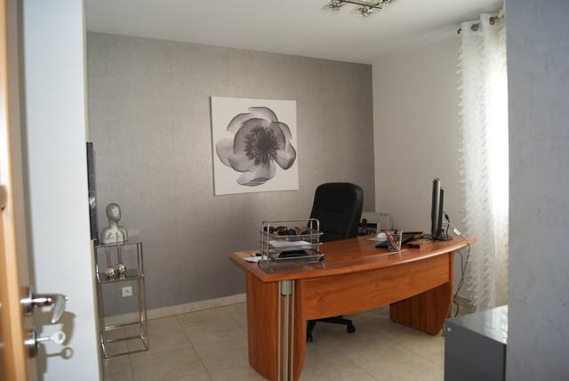 Bureau ambiance style meuble merisier m tallique for Entretien d un salon en cuir
