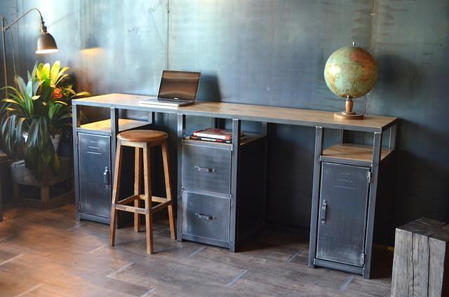 Bureau - Console bois métal style industriel - Industriel - Bureau à ...