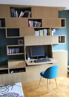 cr ation d 39 une biblioth que avec bureau int gr moderne bureau domicile paris par. Black Bedroom Furniture Sets. Home Design Ideas