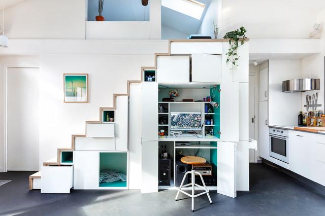 Maison d'Architecte コンテンポラリー-ホームオフィス書斎