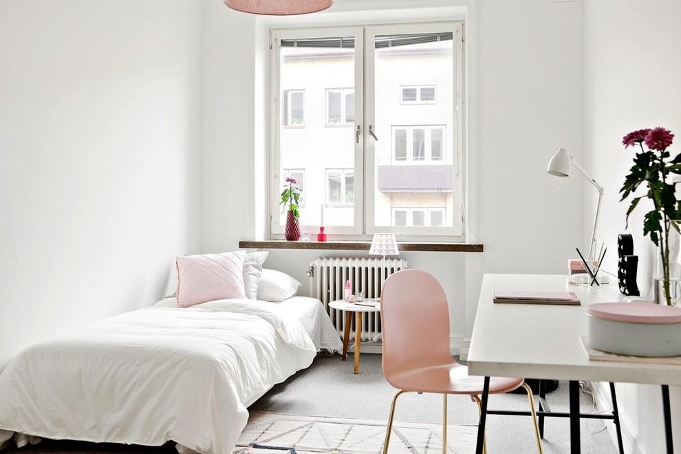 Ispirazione per una cameretta per bambini nordica con pareti bianche, moquette e pavimento grigio