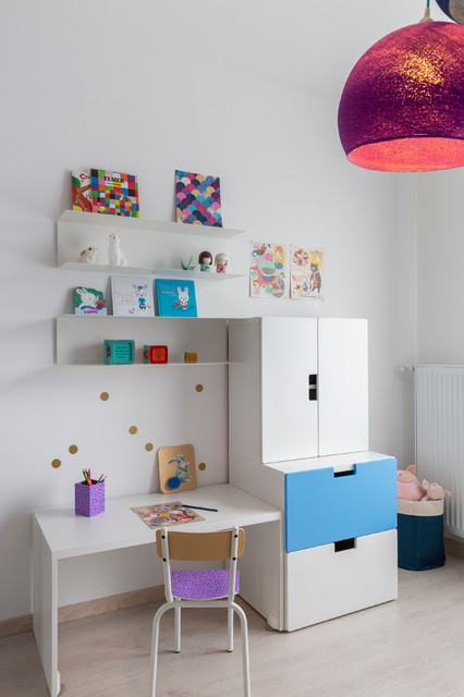 chambre petite fille bleu indigo contemporain chambre d 39 enfant other metro par. Black Bedroom Furniture Sets. Home Design Ideas