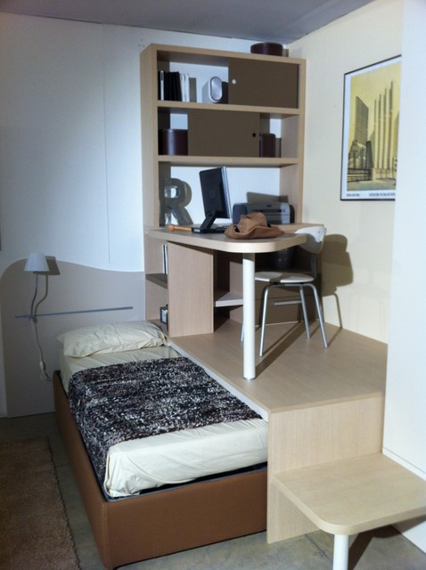 Cr ation d 39 espace estrade et bureau moderne chambre d 39 enfant other metro par happy hours for Lit escamotable estrade