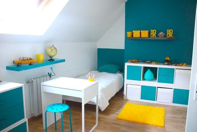 decoration chambre bebe jaune - Chambre Bleu Paon