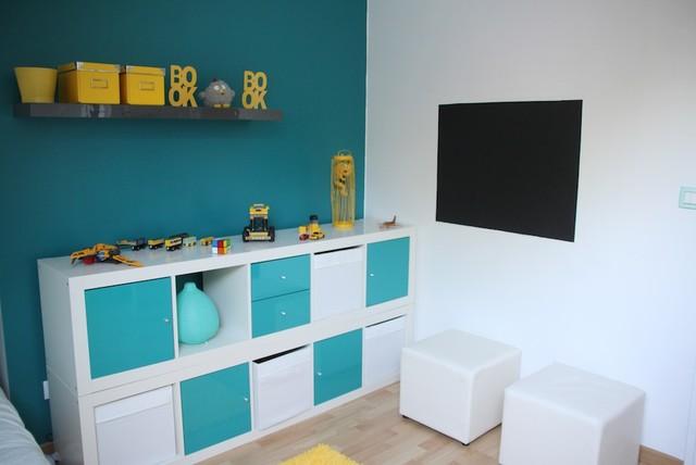 Décoration chambre enfant bleu et jaune - Contemporain ...
