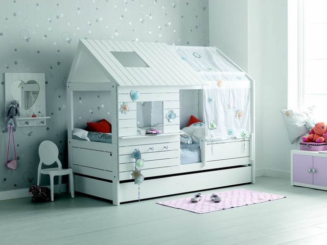 lit cabane fille 90x200 blanc contemporain chambre d. Black Bedroom Furniture Sets. Home Design Ideas