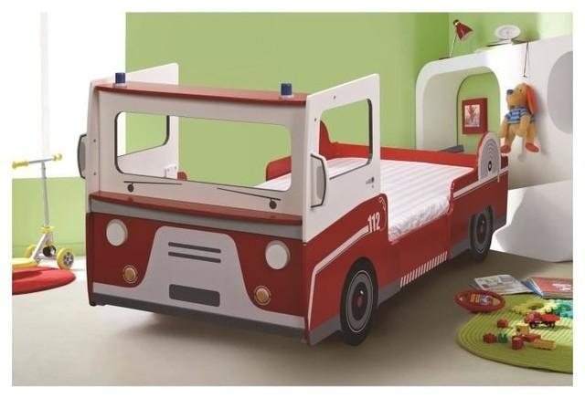 Lit Enfant Complet 90x190200 Pompier Couleur Blanc Rouge