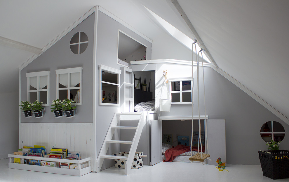 Kids' room - mid-sized contemporary gender-neutral white floor and painted wood floor kids' room idea in Other with gray walls