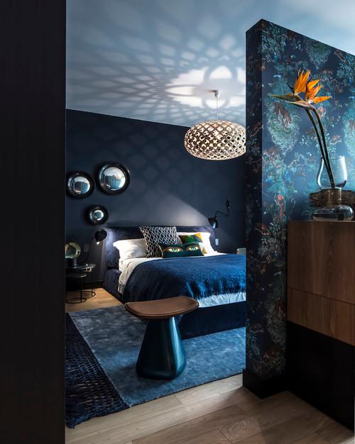 décoration salon bleu canard