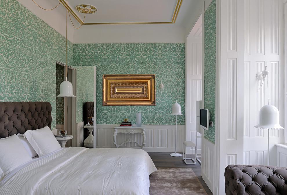 Mid-sized elegant master dark wood floor bedroom photo in Paris with multicolored walls