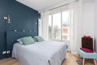Chambre Scandinave Avec Un Mur Bleu Photos Et Idées Déco