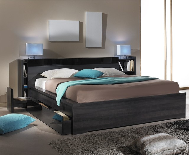 brooklyn t te de lit avec rangements 140 cm contemporain chambre autres p rim tres par. Black Bedroom Furniture Sets. Home Design Ideas