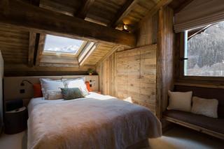 Chalet Meribel rustico-dormitorio