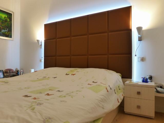 Chambre coucher t te de lit cuir contemporain for Decoration chambre a coucher contemporain