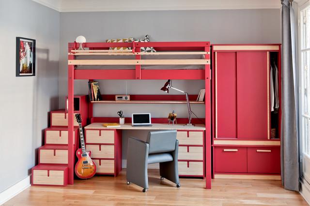 Chambre d 39 ado contemporary bedroom paris by espace - Armoire metallique chambre ado ...