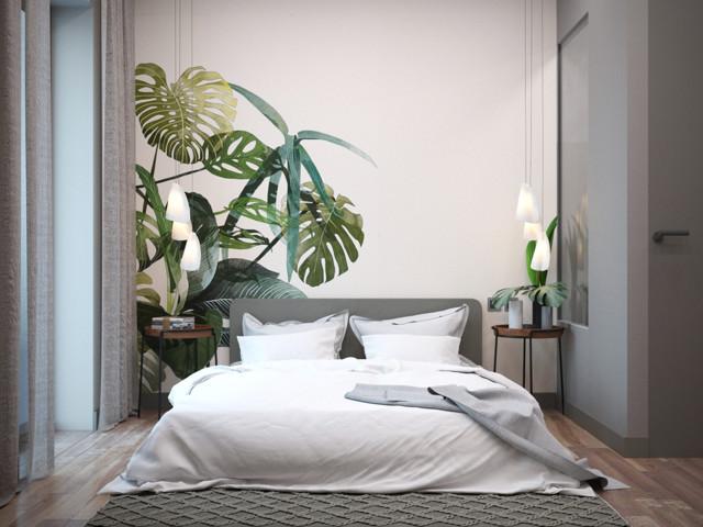 chambre moderne grise - Kolonialstil - Schlafzimmer - Nizza ...
