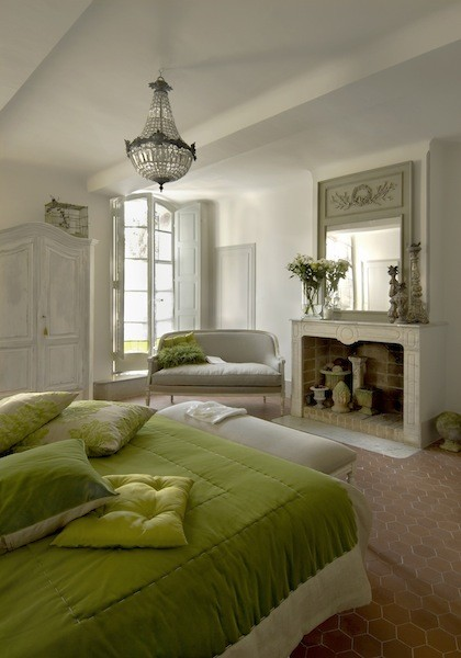 Green Bedroom mediterranean bedroom