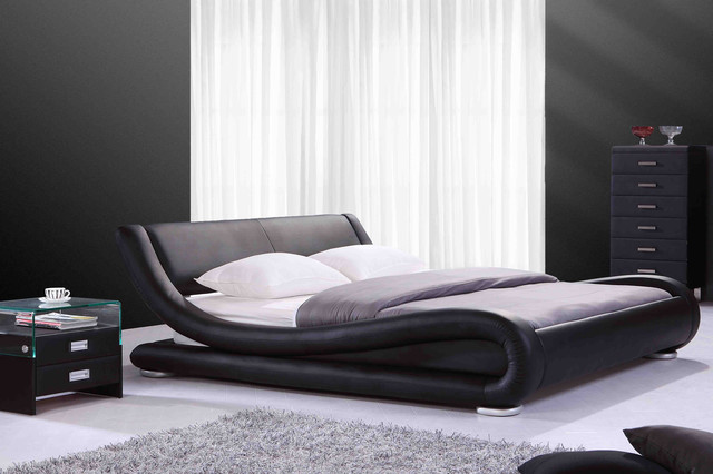 Lit design en cuir noir cugini napoli for Chambre adulte 2 personnes