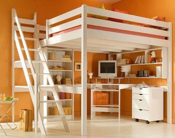 Lit mezzanine sylvia escalier de meunier blanc - Lit mezzanine escalier ...