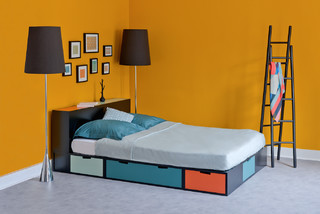 lit podium brick avec rangements int gr s chambre paris par espace loggia. Black Bedroom Furniture Sets. Home Design Ideas